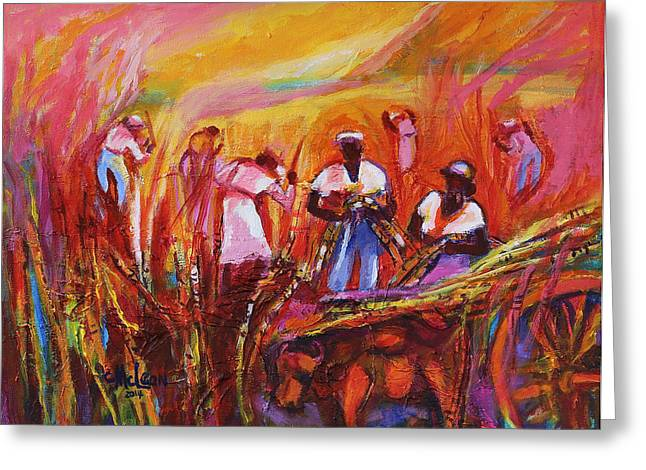 Machete Greeting Cards - Cane Harvest Greeting Card by Cynthia McLean