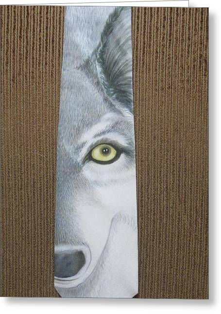 Grey Tapestries - Textiles Greeting Cards - Canis Lupis Greeting Card by David Kelly