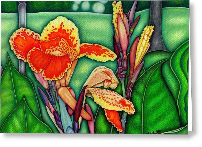 Canna Lilies In Bloom Greeting Card by Lorrie Cerrone