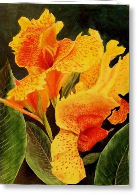 Canna Lilies Greeting Card by Vickie Voelz