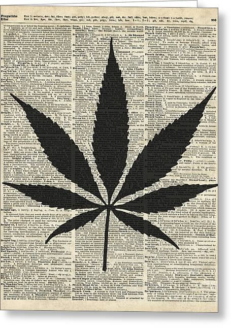 Home Decor Posters Mixed Media Greeting Cards - Cannabis Plant Stencil Greeting Card by Jacob Kuch
