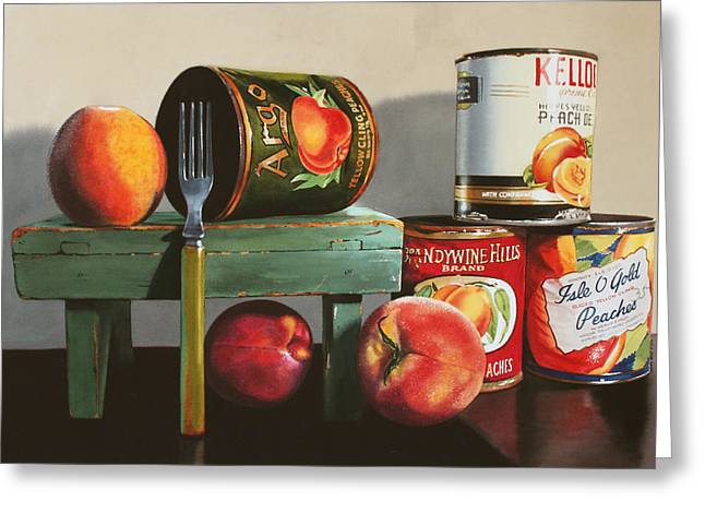 Canned Peaches Greeting Card by Denny Bond