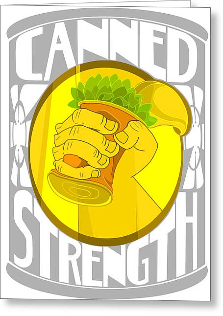 Spinach Green Greeting Cards - Canned Strength Greeting Card by Charles Drummond