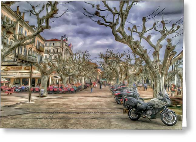 Cannes Greeting Cards - Cannes Park Alley Greeting Card by Yury Malkov