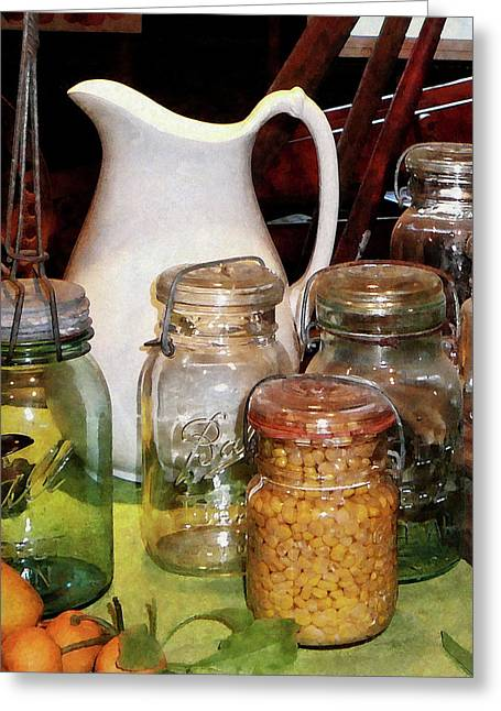 Canning Jars Greeting Cards - Canning Jar With Corn Greeting Card by Susan Savad