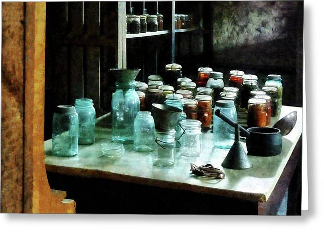 Canning Jars Greeting Cards - Canning Jars Ladles and Funnels Greeting Card by Susan Savad