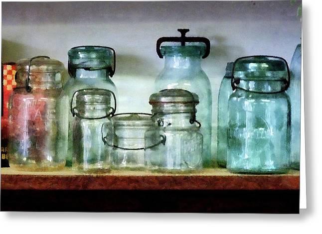 Canning Jars Greeting Cards - Canning Jars on Shelf Greeting Card by Susan Savad