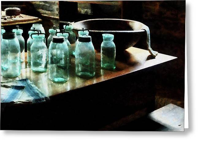 Canning Jars Greeting Card by Susan Savad