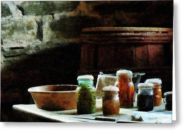 Cuisine Greeting Cards - Canning Jars With Colorful Vegetables Greeting Card by Susan Savad