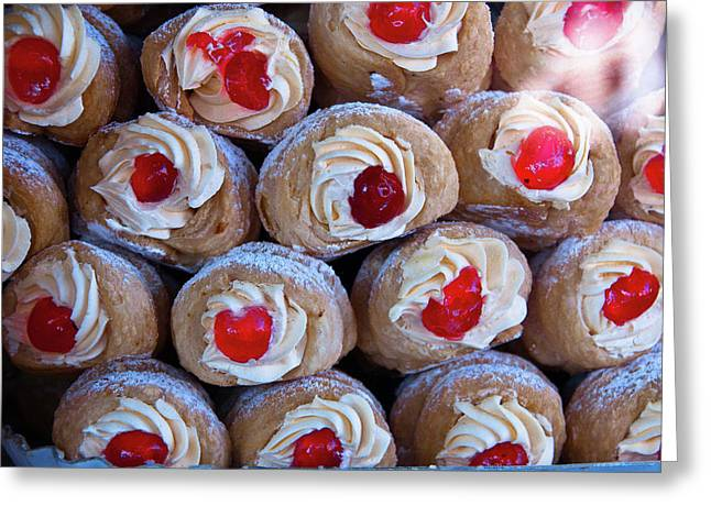 Food Poster Greeting Cards - Cannoli Greeting Card by Harry Spitz