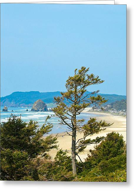 Lanscape Greeting Cards - Cannon Beach from the Distance Greeting Card by David Patterson