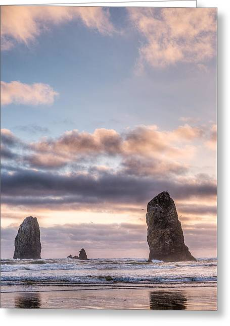 Ocean Shore Greeting Cards - Cannon Beach Needles  Greeting Card by Drew Castelhano
