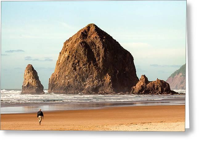 Cannon Beach Stroll Greeting Card by Todd Klassy