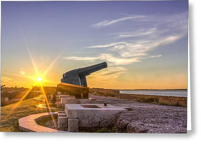 Confederate Monument Greeting Cards - Cannons at Fort Clinch Sunset 3 Greeting Card by Rob Sellers