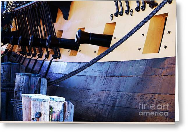 Wooden Ship Greeting Cards - Cannons On The Hermoine Greeting Card by Marcus Dagan
