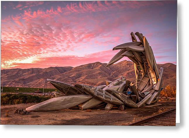 Canoe Art Sculpture With Pink Clouds Greeting Card by Brad Stinson