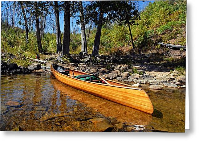 Canoe At Portage Landing Greeting Card by Larry Ricker