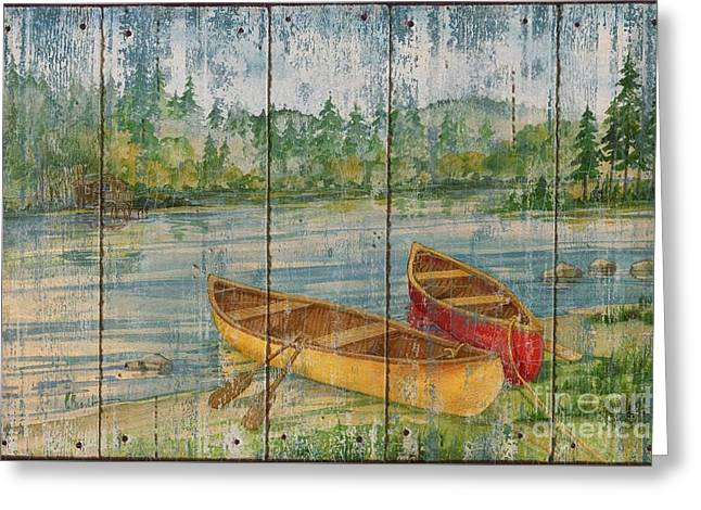Canoe Greeting Cards - Canoe Camp - Distressed Greeting Card by Paul Brent