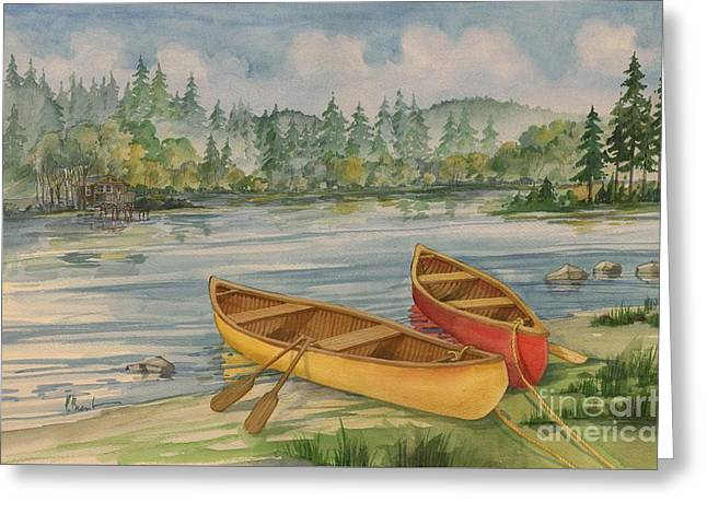 Canoe Camp Greeting Card by Paul Brent