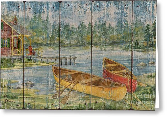 Canoe Greeting Cards - Canoe Camp with Cabin - Distressed Greeting Card by Paul Brent