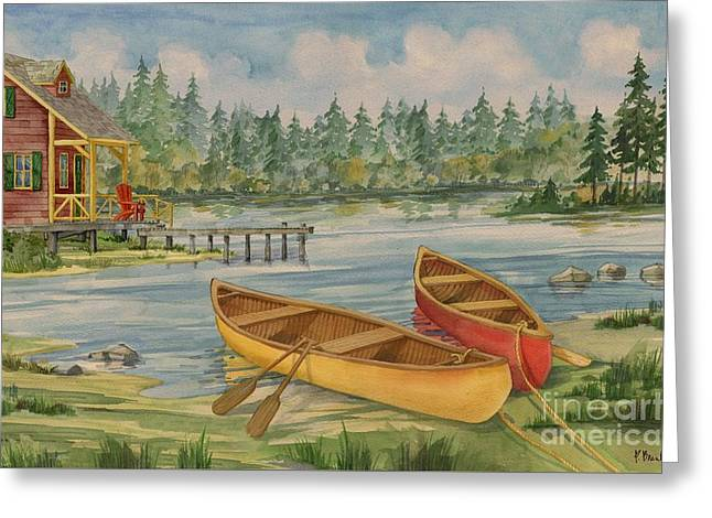 Canoe Greeting Cards - Canoe Camp with Cabin Greeting Card by Paul Brent