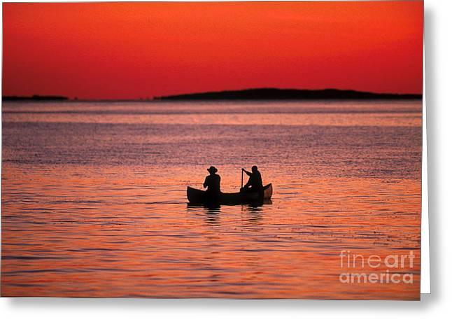 Canoe Fishing Greeting Card by John Greim