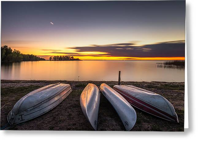 Beach Photography Greeting Cards - Canoe Glitter Greeting Card by Ludwig Riml