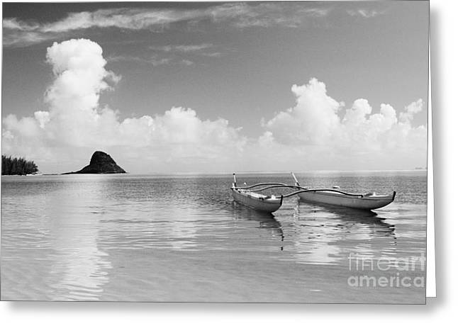 Canoe Landscape - Bw Greeting Card by Joss - Printscapes