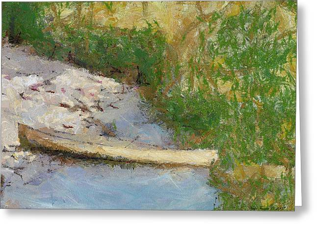 Canoe Greeting Cards - Canoe On Beach Greeting Card by Nada Frazier