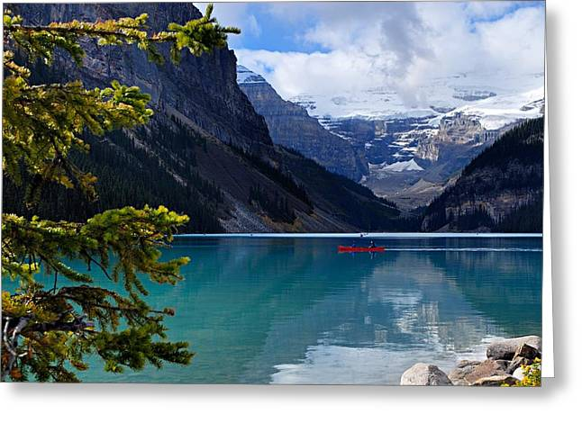 Alberta Landscape Greeting Cards - Canoe on Lake Louise Greeting Card by Larry Ricker