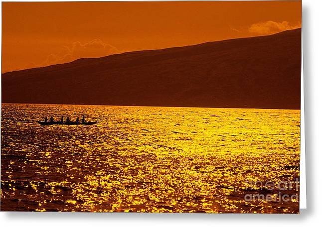 Ocean Art Photos Greeting Cards - Canoe Paddling At Sunset Greeting Card by Dana Edmunds - Printscapes