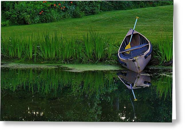 Canoe Photographs Greeting Cards - Canoe Reflection Greeting Card by Karl Anderson