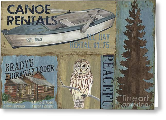Owl Decor Greeting Cards - Canoe Rentals Lodge Greeting Card by Debbie DeWitt