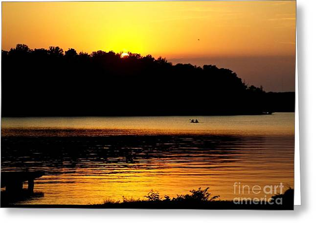 Canoe Greeting Cards - Canoeing At Sunset  Greeting Card by Christy Ricafrente