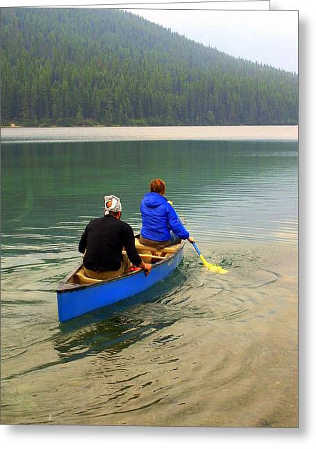 Marty Koch Greeting Cards - Canoeing Glacier Park Greeting Card by Marty Koch