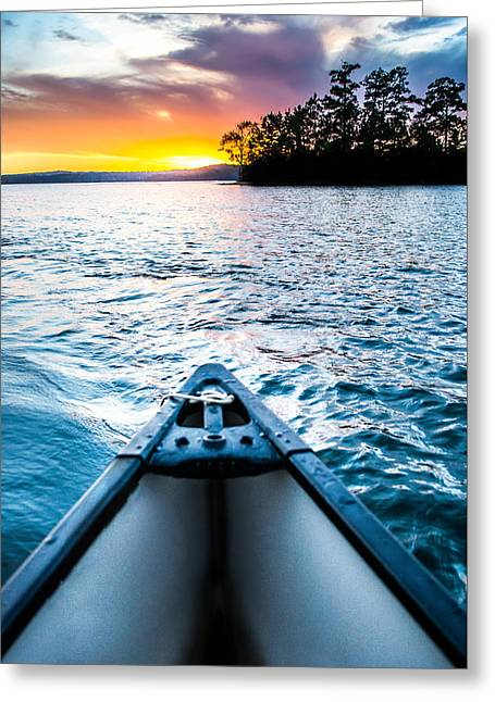 Canoeing Photographs Greeting Cards - Canoeing in Paradise Greeting Card by Parker Cunningham