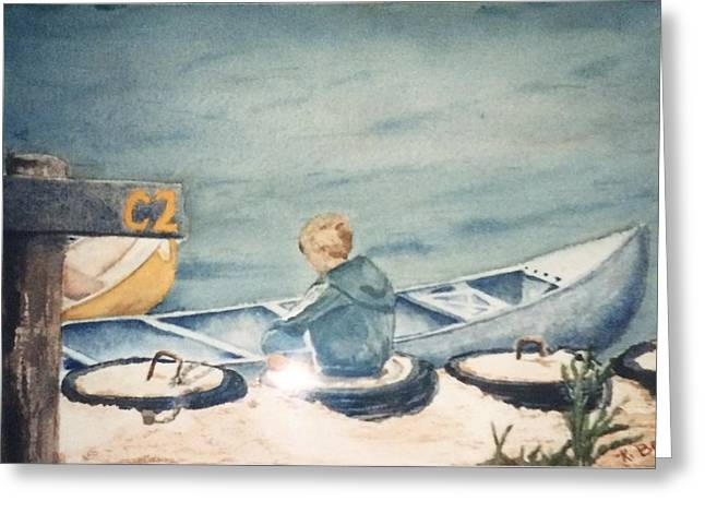 Canoe Greeting Cards - Canoeing Greeting Card by Katherine  Berlin
