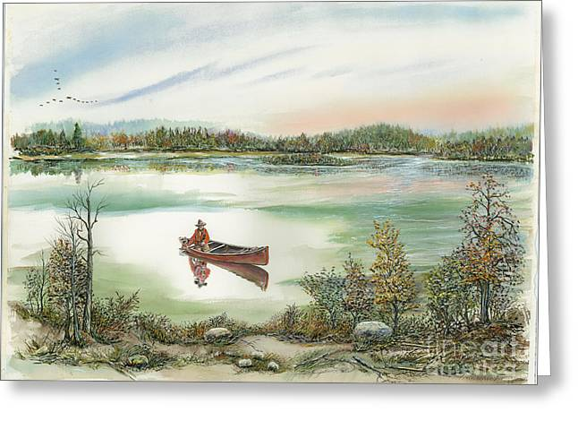 Canoeing On The Lake Greeting Card by Samuel Showman