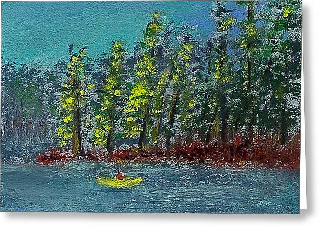 Hills Pastels Greeting Cards - Canoeing the Lake Greeting Card by David Patterson