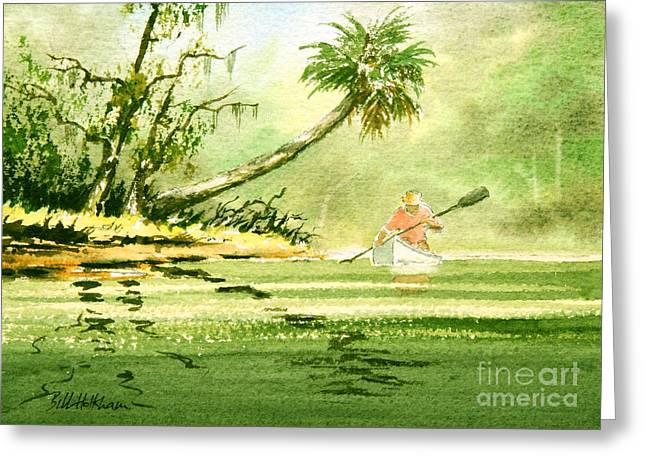 Canoe Paintings Greeting Cards - Canoeing The Rivers Of Florida Greeting Card by Bill Holkham