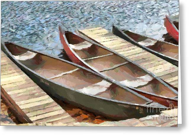 Canoe Paintings Greeting Cards - Canoes At Lake Susan Greeting Card by Anne Kitzman