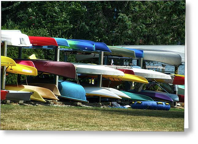 Canoes In Many Colors 01 Greeting Card by Thomas Woolworth