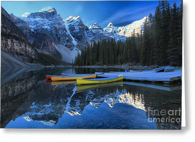 Canoes In Paradise Greeting Card by Adam Jewell