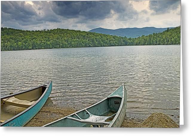 Heart Lake Greeting Cards - Canoes on Heart Lake Adirondack Park New York Greeting Card by Brendan Reals