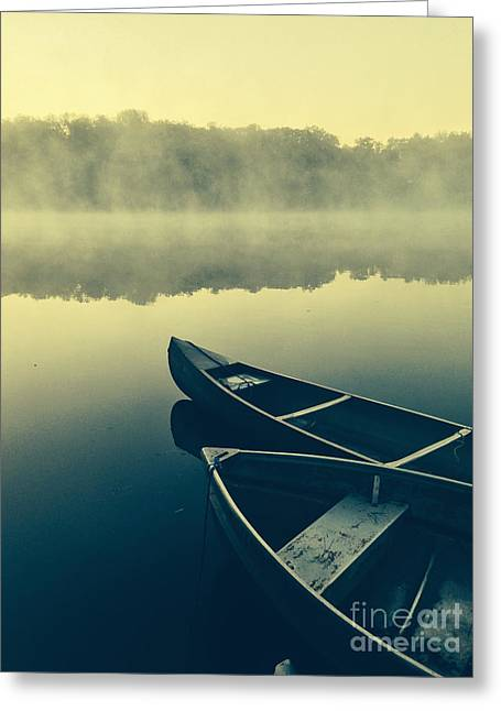 Canoes On Lake Greeting Card by Pd