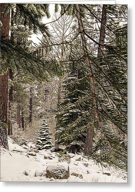 Snowy Day Greeting Cards - Canopy Greeting Card by Maria Coulson