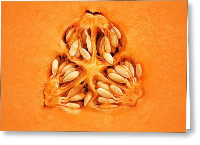 Cantaloupe Melon Inside Greeting Card by Johan Swanepoel