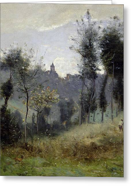 Dog Walking Greeting Cards - Canteleu near Rouen Greeting Card by Jean Baptiste Camille Corot