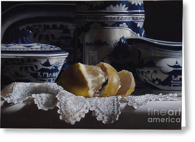 Lemons Greeting Cards - Canton China Lace And Lemon Greeting Card by Larry Preston