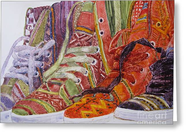 Hightop Sneakers Greeting Cards - Canvas  Hightops Greeting Card by Louise Peardon